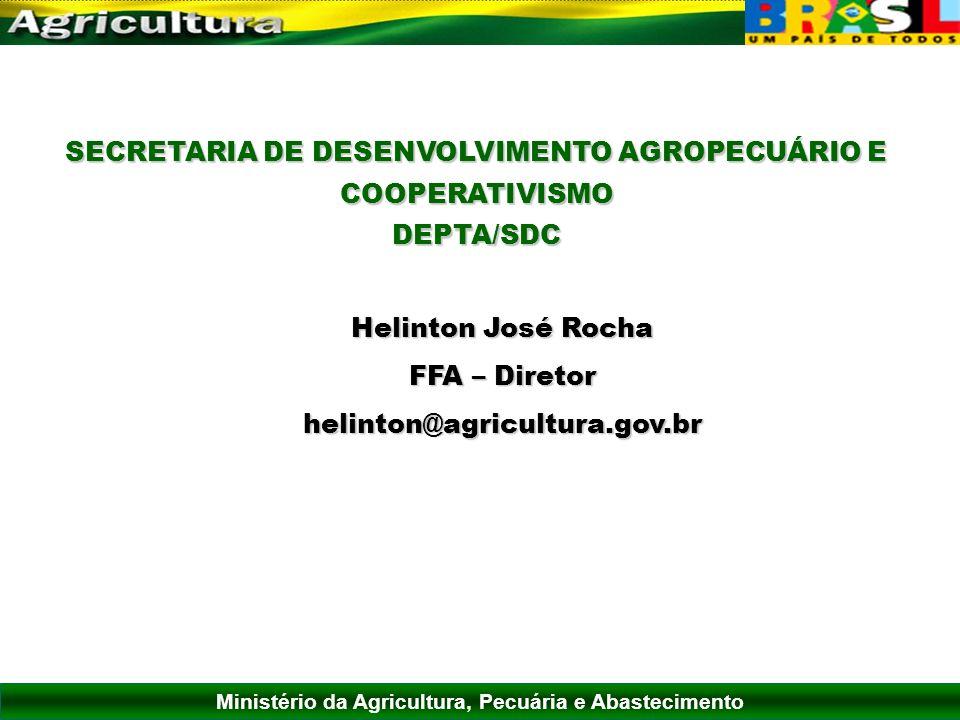 Ministério da Agricultura, Pecuária e Abastecimento SECRETARIA DE DESENVOLVIMENTO AGROPECUÁRIO E COOPERATIVISMO DEPTA/SDC Helinton José Rocha FFA – Di