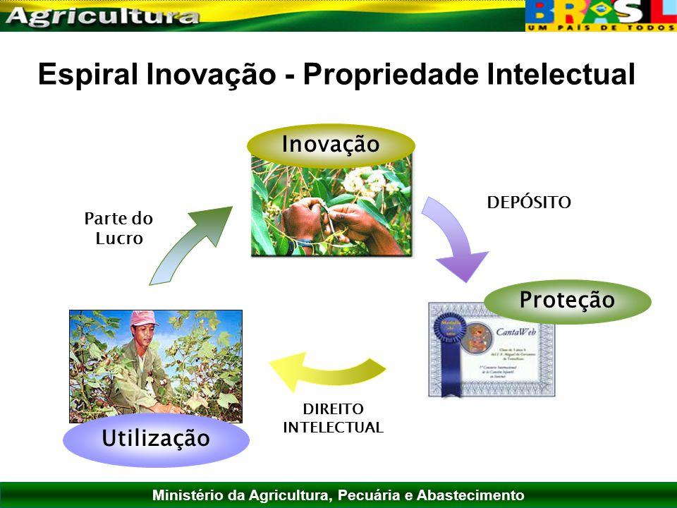 Ministério da Agricultura, Pecuária e Abastecimento Espiral Inovação - Propriedade Intelectual DEPÓSITO DIREITO INTELECTUAL Parte do Lucro Inovação Ut