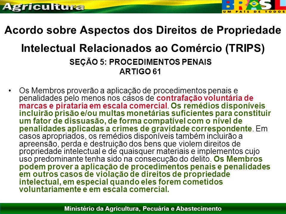 Ministério da Agricultura, Pecuária e Abastecimento Acordo sobre Aspectos dos Direitos de Propriedade Intelectual Relacionados ao Comércio (TRIPS) SEÇ