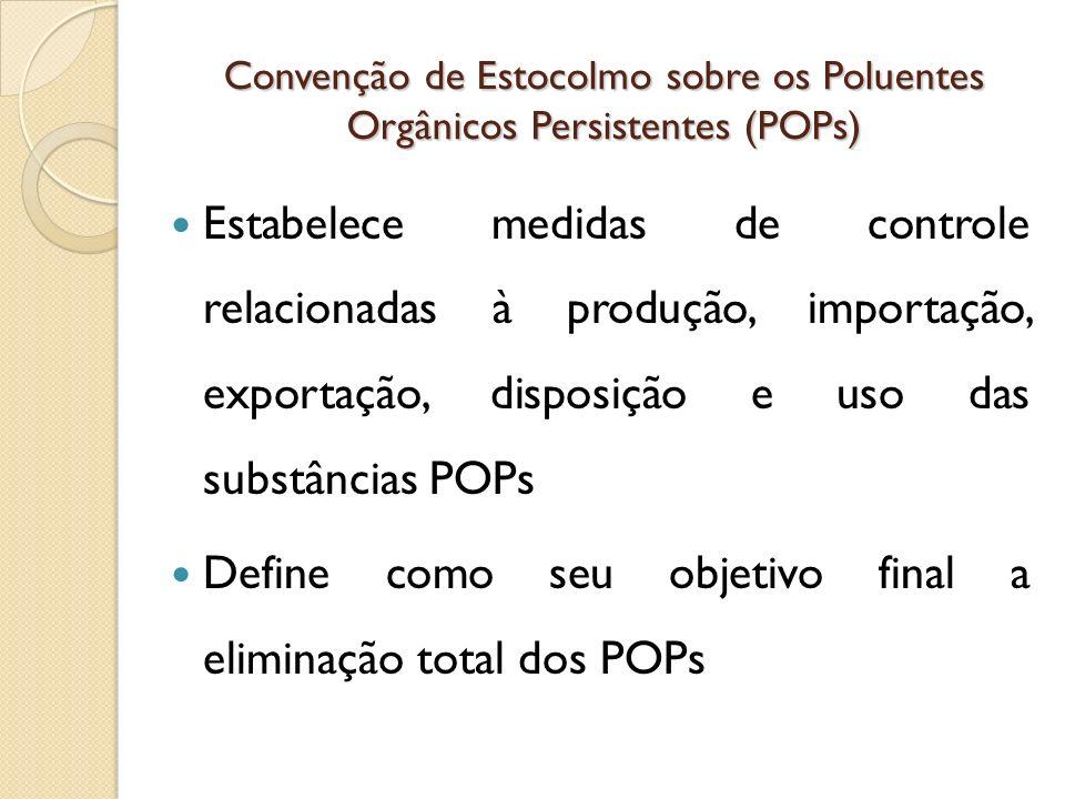 Convenção de Estocolmo sobre os Poluentes Orgânicos Persistentes (POPs) Estabelece medidas de controle relacionadas à produção, importação, exportação