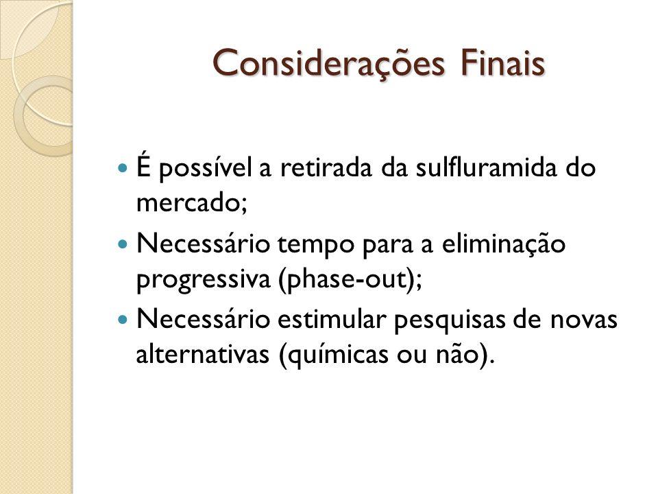 Considerações Finais Considerações Finais É possível a retirada da sulfluramida do mercado; Necessário tempo para a eliminação progressiva (phase-out)