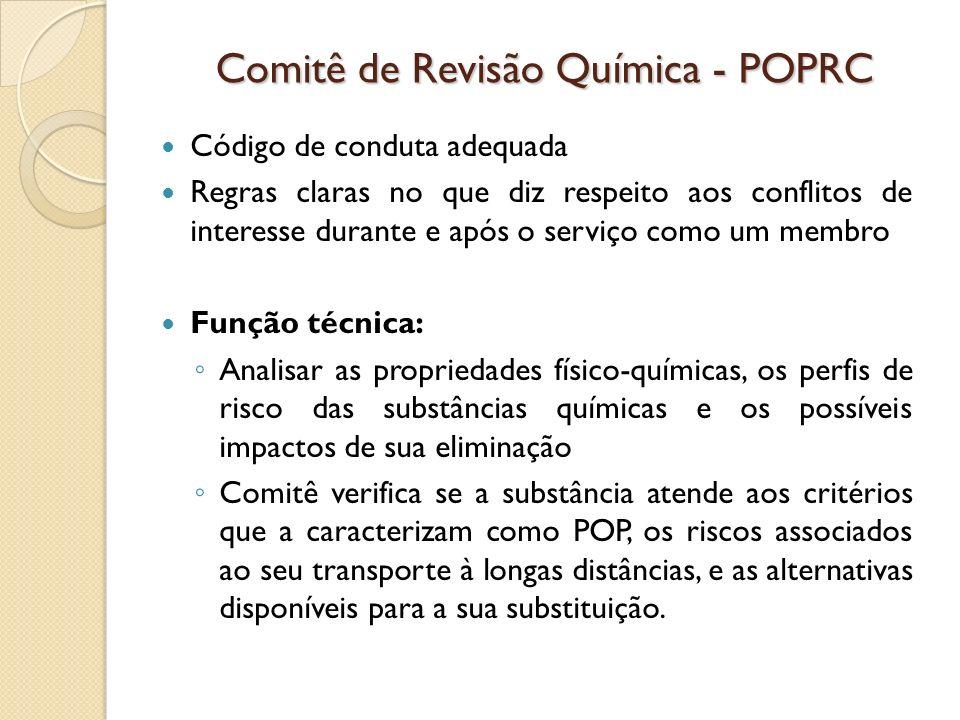 Comitê de Revisão Química - POPRC Código de conduta adequada Regras claras no que diz respeito aos conflitos de interesse durante e após o serviço com