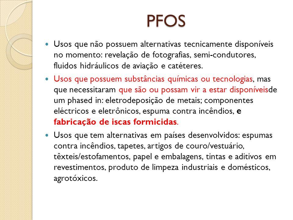 PFOS Usos que não possuem alternativas tecnicamente disponíveis no momento: revelação de fotografias, semi-condutores, fluidos hidráulicos de aviação