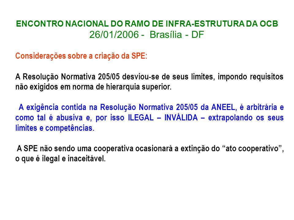 ENCONTRO NACIONAL DO RAMO DE INFRA-ESTRUTURA DA OCB 26/01/2006 - Brasília - DF Considerações sobre a criação da SPE: A Resolução Normativa 205/05 desv
