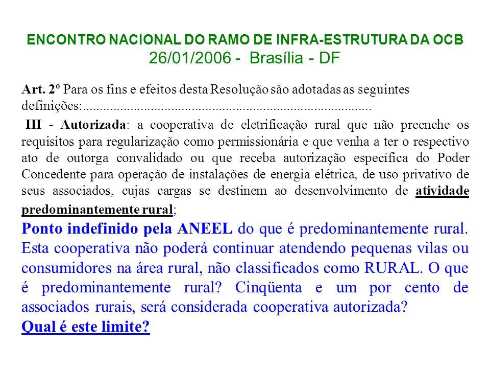 ENCONTRO NACIONAL DO RAMO DE INFRA-ESTRUTURA DA OCB 26/01/2006 - Brasília - DF Art. 2º Para os fins e efeitos desta Resolução são adotadas as seguinte