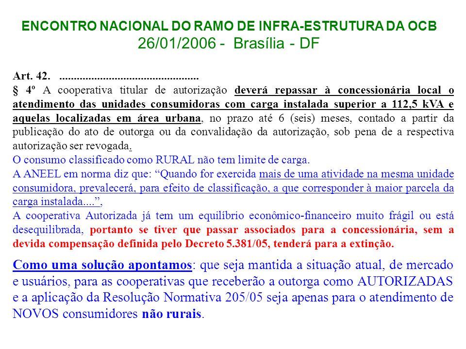 ENCONTRO NACIONAL DO RAMO DE INFRA-ESTRUTURA DA OCB 26/01/2006 - Brasília - DF Art. 42................................................. § 4º A coopera