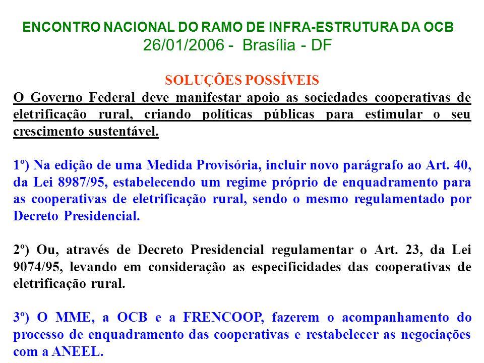 ENCONTRO NACIONAL DO RAMO DE INFRA-ESTRUTURA DA OCB 26/01/2006 - Brasília - DF SOLUÇÕES POSSÍVEIS O Governo Federal deve manifestar apoio as sociedade