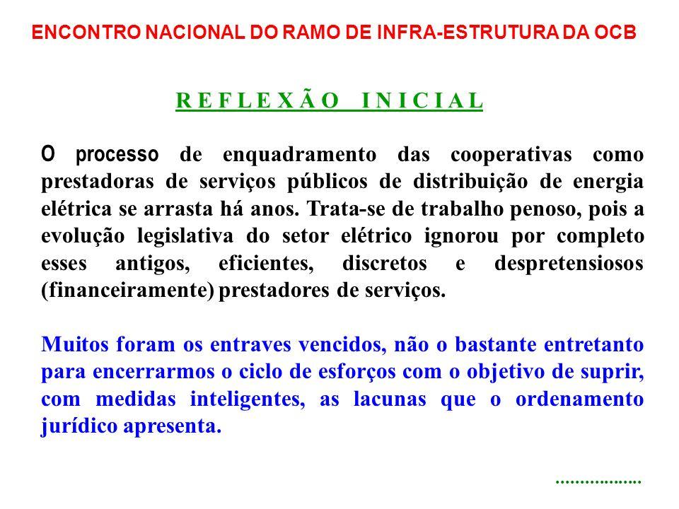ENCONTRO NACIONAL DO RAMO DE INFRA-ESTRUTURA DA OCB O processo de enquadramento das cooperativas como prestadoras de serviços públicos de distribuição