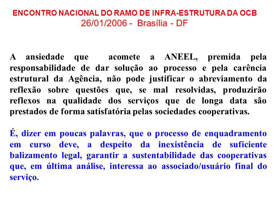 ENCONTRO NACIONAL DO RAMO DE INFRA-ESTRUTURA DA OCB 26/01/2006 - Brasília - DF A ansiedade que acomete a ANEEL, premida pela responsabilidade de dar s