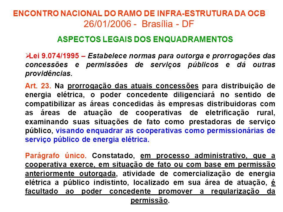 ENCONTRO NACIONAL DO RAMO DE INFRA-ESTRUTURA DA OCB 26/01/2006 - Brasília - DF Lei 9.074/1995 – Estabelece normas para outorga e prorrogações das conc