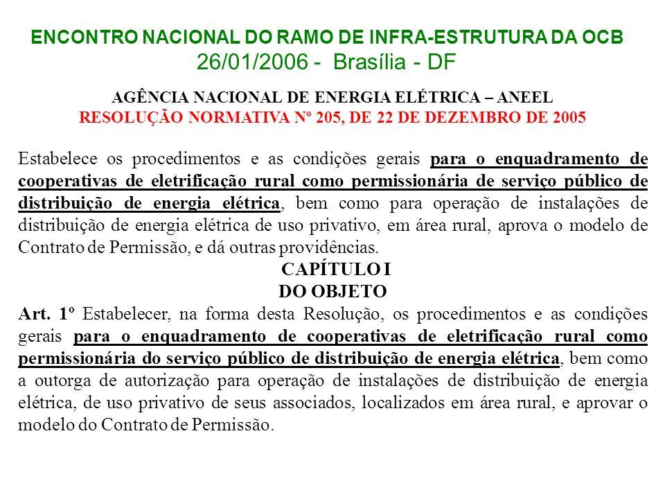 ENCONTRO NACIONAL DO RAMO DE INFRA-ESTRUTURA DA OCB 26/01/2006 - Brasília - DF AGÊNCIA NACIONAL DE ENERGIA ELÉTRICA – ANEEL RESOLUÇÃO NORMATIVA Nº 205