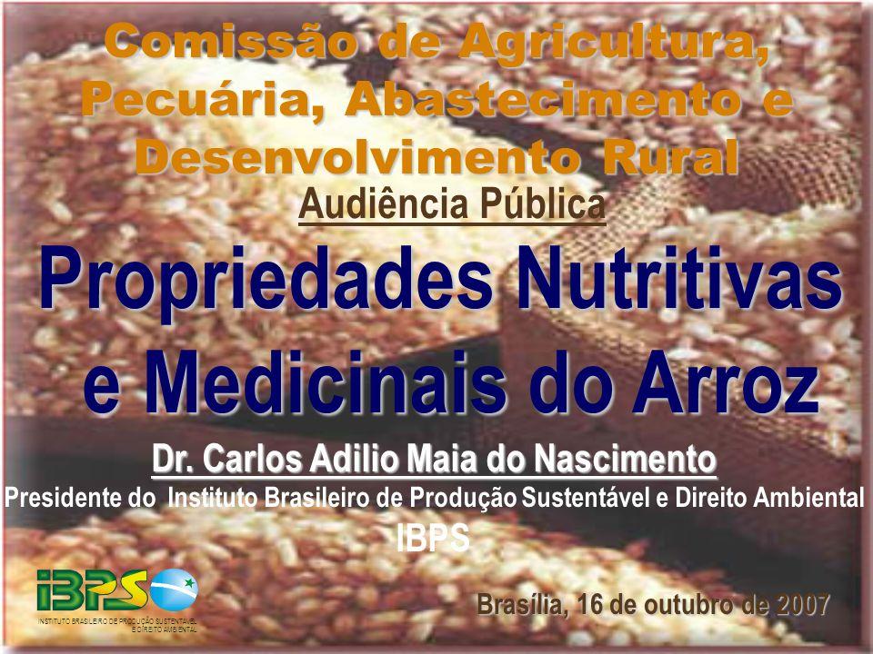 Dr. Carlos Adilio Maia do Nascimento Presidente do Instituto Brasileiro de Produção Sustentável e Direito Ambiental IBPS Propriedades Nutritivas e Med