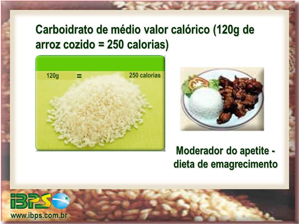 Carboidrato de médio valor calórico (120g de arroz cozido = 250 calorias) Moderador do apetite - dieta de emagrecimento www.ibps.com.br