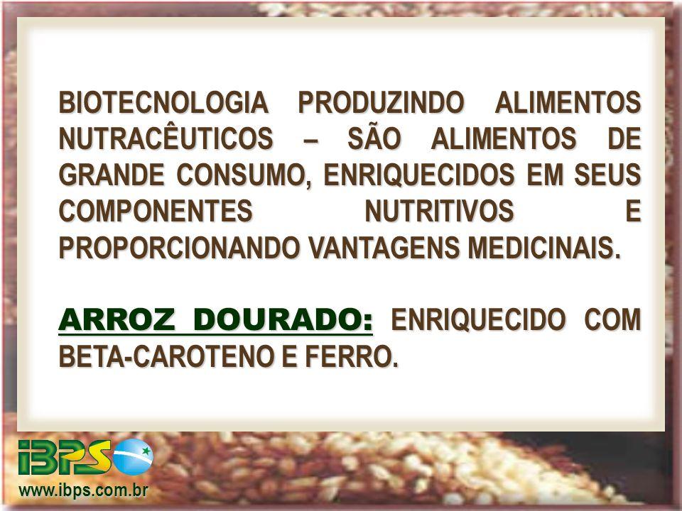 www.ibps.com.br BIOTECNOLOGIA PRODUZINDO ALIMENTOS NUTRACÊUTICOS – SÃO ALIMENTOS DE GRANDE CONSUMO, ENRIQUECIDOS EM SEUS COMPONENTES NUTRITIVOS E PROPORCIONANDO VANTAGENS MEDICINAIS.