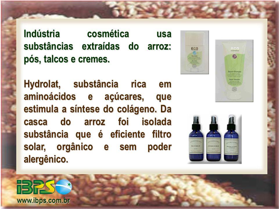 Indústria cosmética usa substâncias extraídas do arroz: pós, talcos e cremes.