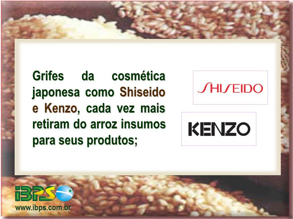 Grifes da cosmética japonesa como Shiseido e Kenzo, cada vez mais retiram do arroz insumos para seus produtos; www.ibps.com.br