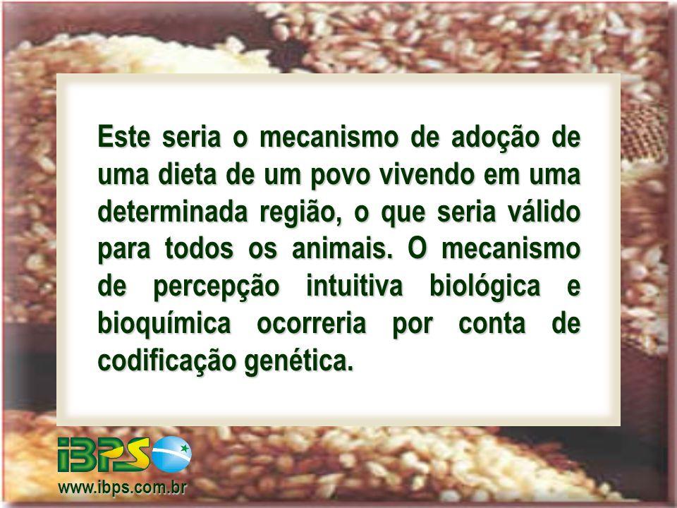 Este seria o mecanismo de adoção de uma dieta de um povo vivendo em uma determinada região, o que seria válido para todos os animais.