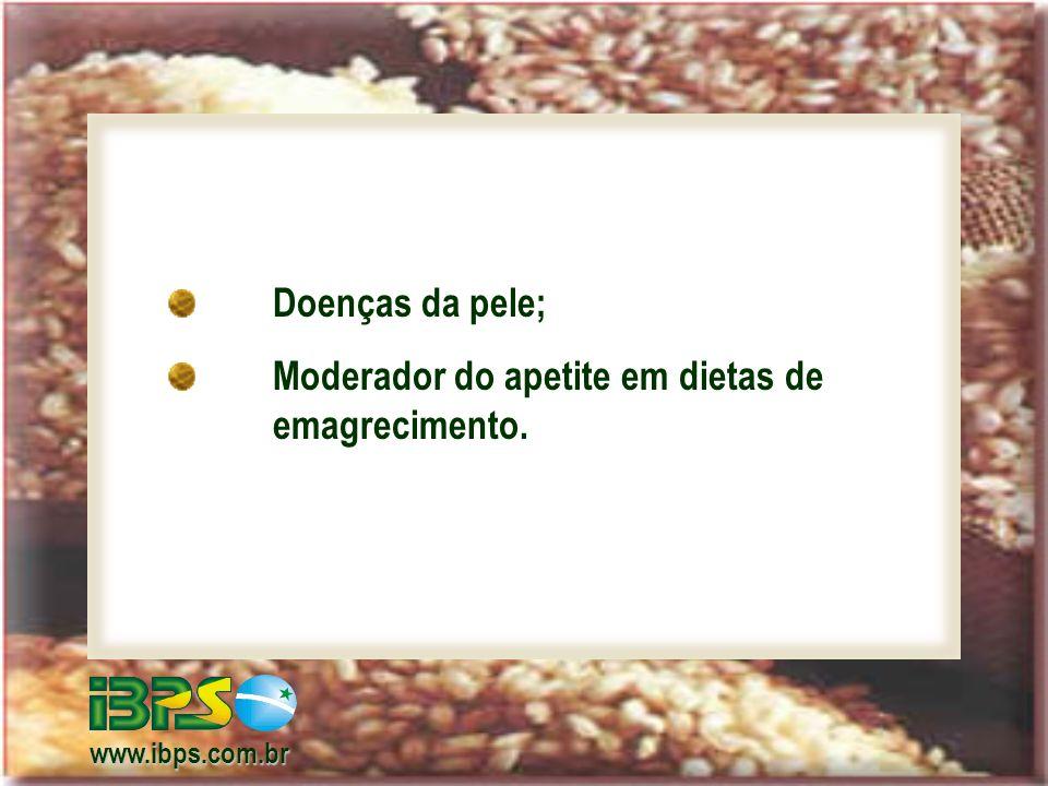 Não contém glúten (proteína hiperalérgica) - celíacos; Não contém glúten (proteína hiperalérgica) - celíacos; Muito baixo efeito alergênico do arroz; Muito baixo efeito alergênico do arroz; www.ibps.com.br