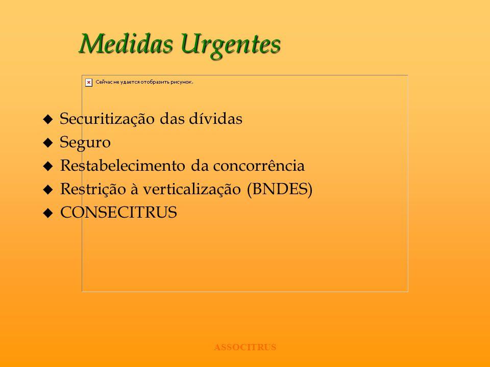 ASSOCITRUS Medidas Urgentes u Securitização das dívidas u Seguro u Restabelecimento da concorrência u Restrição à verticalização (BNDES) u CONSECITRUS