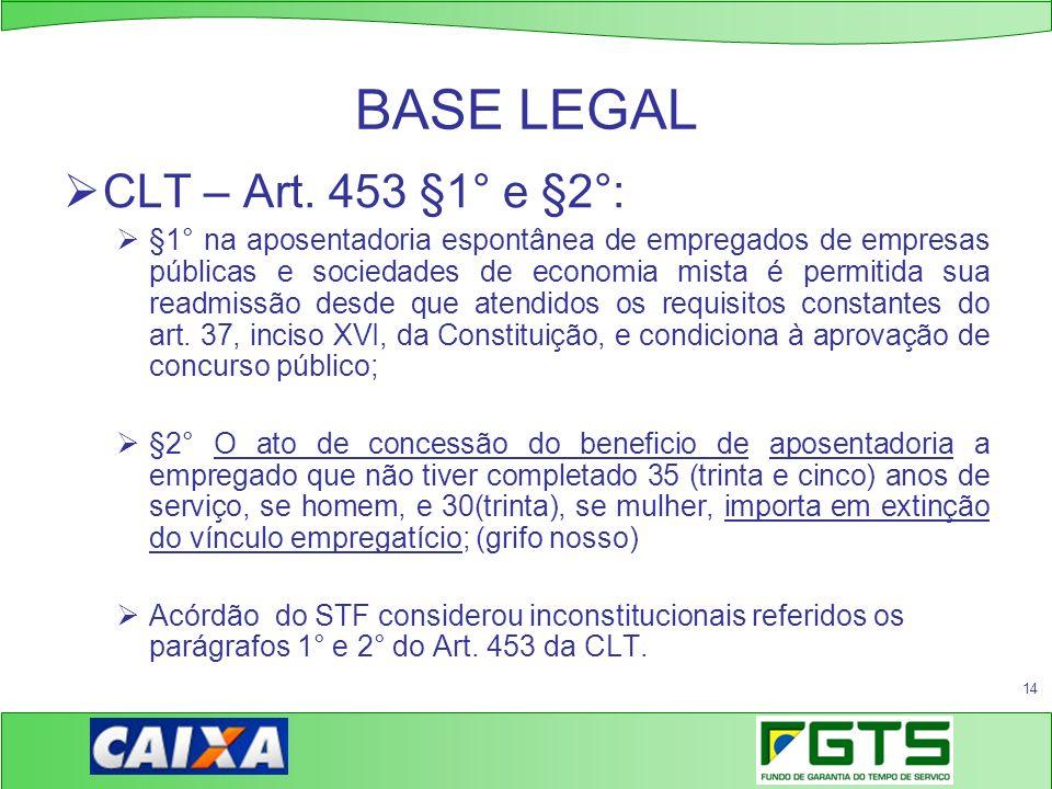 14 BASE LEGAL CLT – Art. 453 §1° e §2°: §1° na aposentadoria espontânea de empregados de empresas públicas e sociedades de economia mista é permitida