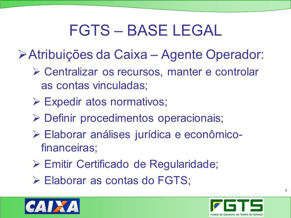4 FGTS – BASE LEGAL Atribuições da Caixa – Agente Operador: Centralizar os recursos, manter e controlar as contas vinculadas; Expedir atos normativos;