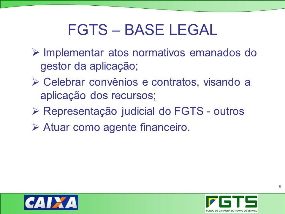 5 FGTS – BASE LEGAL Implementar atos normativos emanados do gestor da aplicação; Celebrar convênios e contratos, visando a aplicação dos recursos; Rep