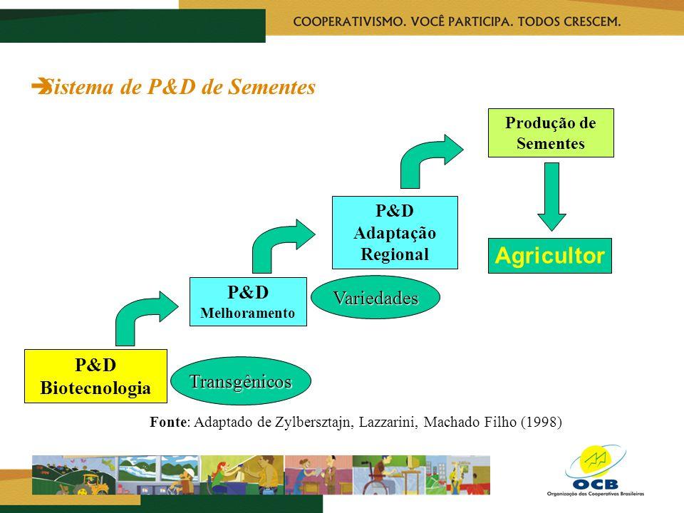 Sistema de P&D de Sementes P&D Biotecnologia P&D Melhoramento P&D Adaptação Regional Produção de Sementes Agricultor Transgênicos Variedades Fonte: Ad