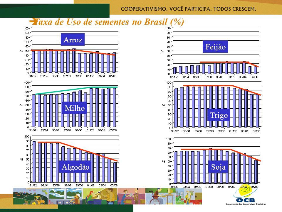 Taxa de Uso de sementes no Brasil (%) Arroz Feijão Milho Trigo AlgodãoSoja