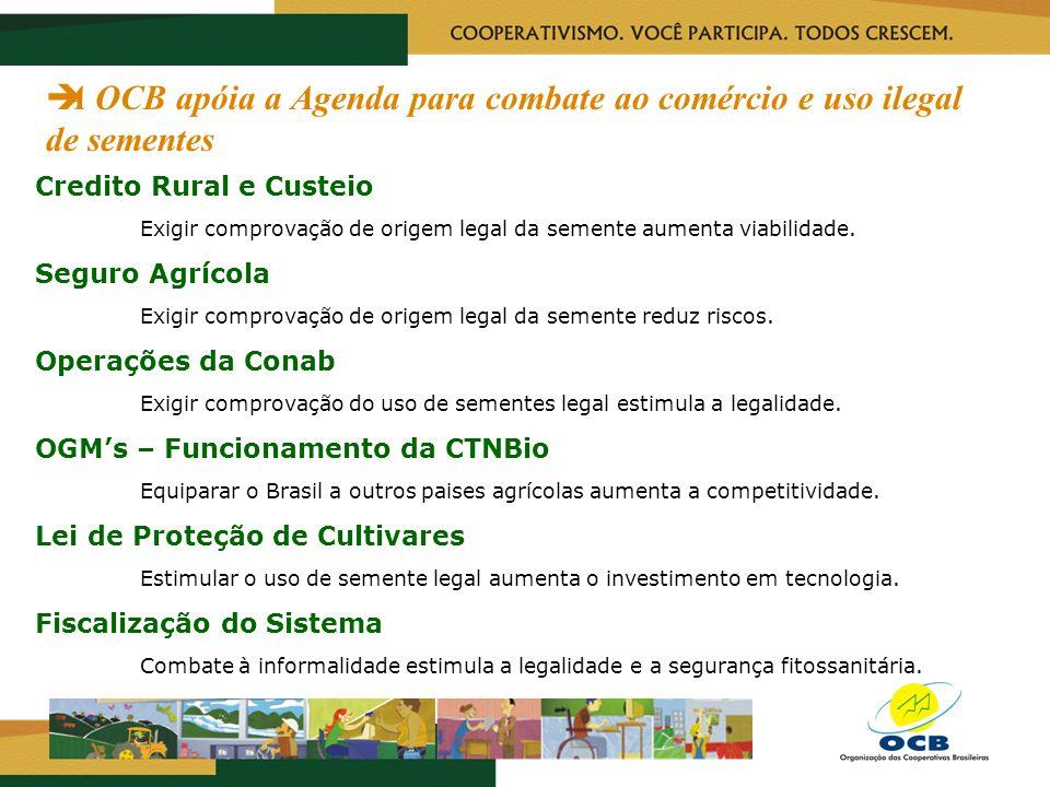 A OCB apóia a Agenda para combate ao comércio e uso ilegal de sementes Credito Rural e Custeio Exigir comprovação de origem legal da semente aumenta v