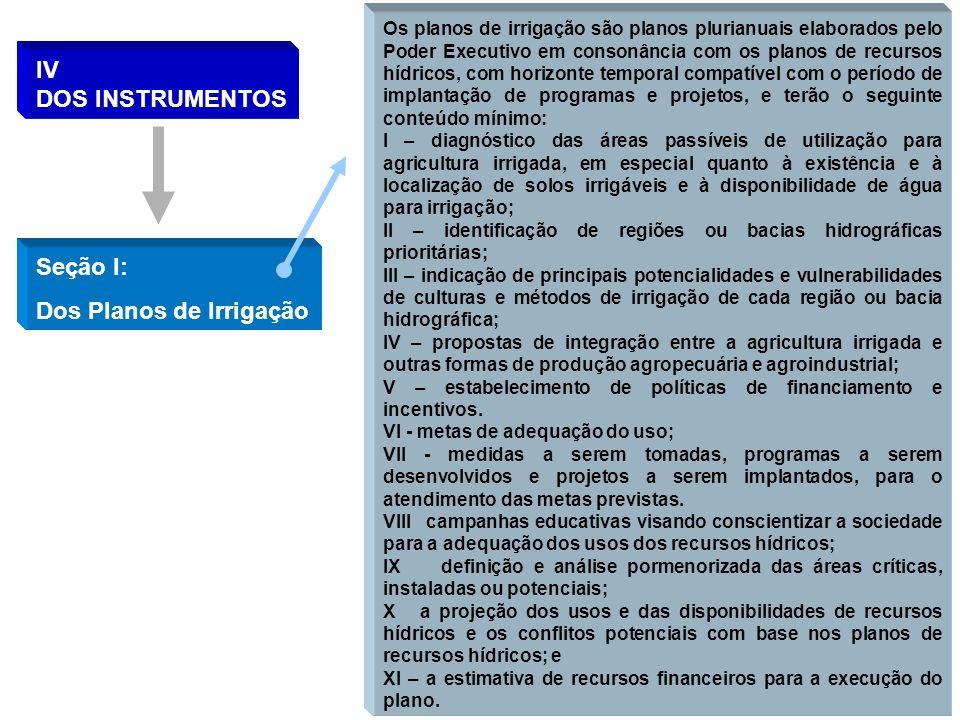 IV DOS INSTRUMENTOS Seção I: Dos Planos de Irrigação Os planos de irrigação são planos plurianuais elaborados pelo Poder Executivo em consonância com