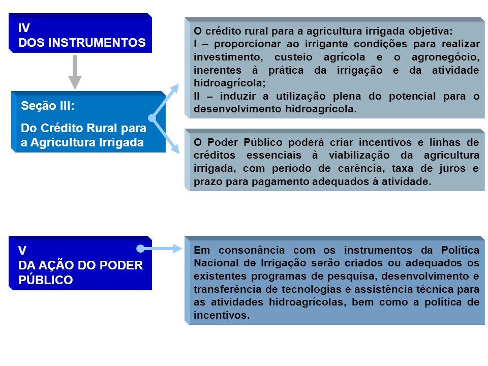 IV DOS INSTRUMENTOS Seção III: Do Crédito Rural para a Agricultura Irrigada O crédito rural para a agricultura irrigada objetiva: I – proporcionar ao