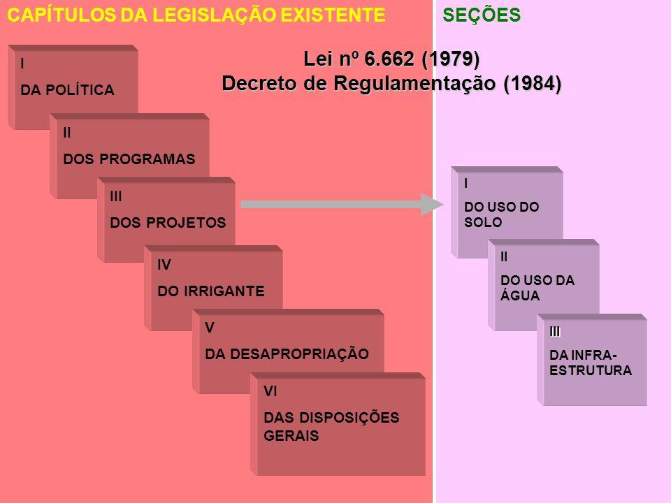 CAPÍTULO I: DOS PRINCÍPIOS Utilização racional dos solos e dos recursos hídricos destinados à irrigação, com prioridade para a de maior benefício socioeconômico e ambiental.