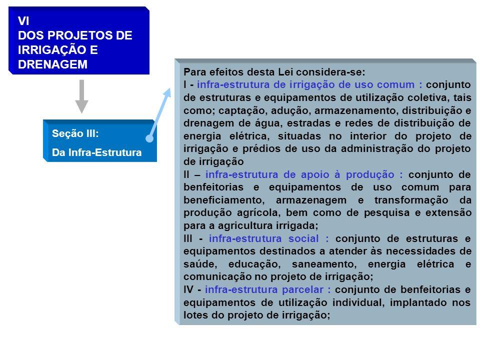 VI DOS PROJETOS DE IRRIGAÇÃO E DRENAGEM Para efeitos desta Lei considera-se: I - infra-estrutura de irrigação de uso comum : conjunto de estruturas e