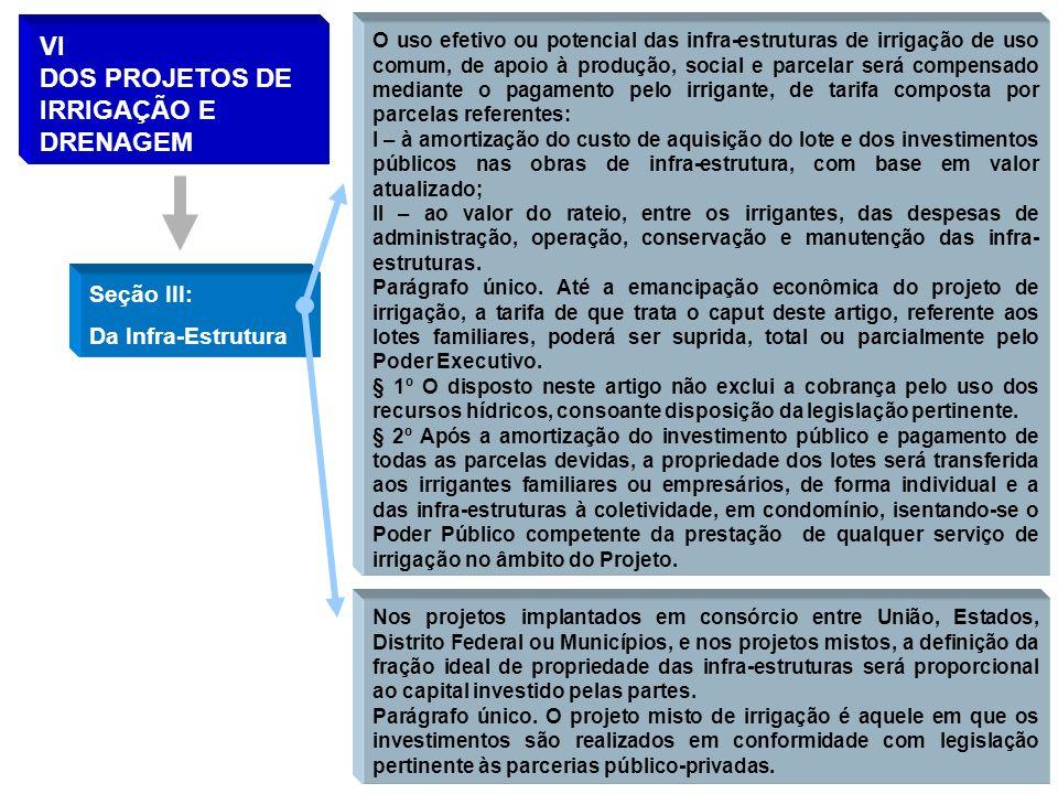 VI DOS PROJETOS DE IRRIGAÇÃO E DRENAGEM Seção III: Da Infra-Estrutura O uso efetivo ou potencial das infra-estruturas de irrigação de uso comum, de ap