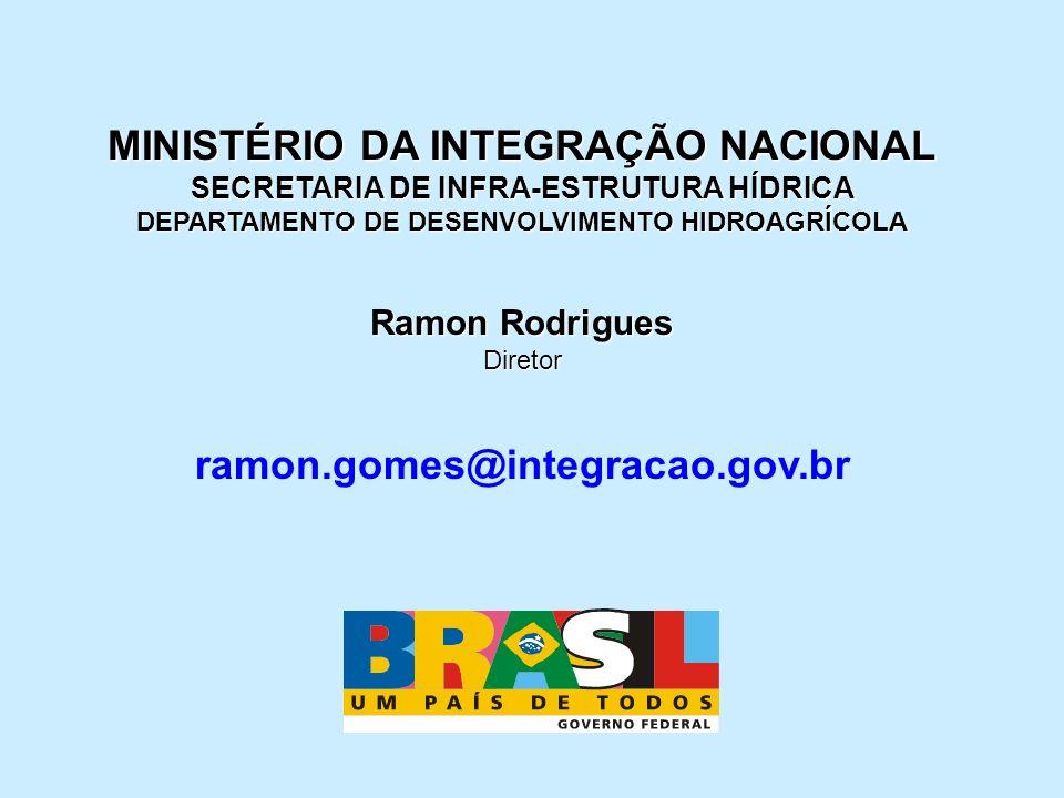 MINISTÉRIO DA INTEGRAÇÃO NACIONAL SECRETARIA DE INFRA-ESTRUTURA HÍDRICA DEPARTAMENTO DE DESENVOLVIMENTO HIDROAGRÍCOLA Ramon Rodrigues Diretor ramon.go