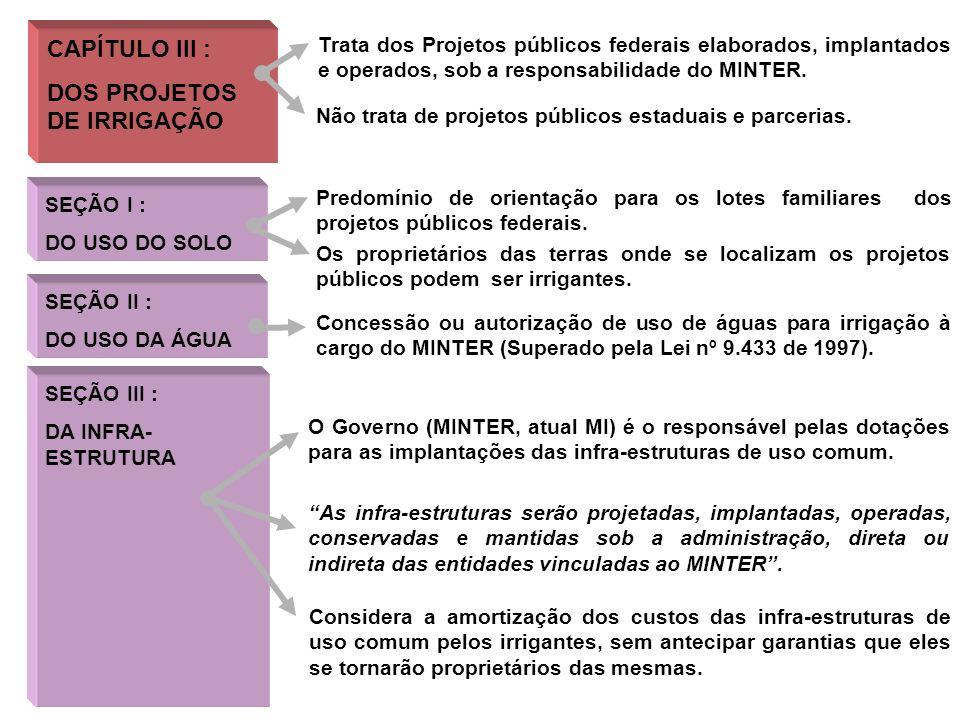 CAPÍTULO IV : DO IRRIGANTE CAPÍTULO V : DA DESAPROPRIAÇÃO Concentra-se em orientações e em deveres do irrigante típico de projeto de irrigação pública federal.