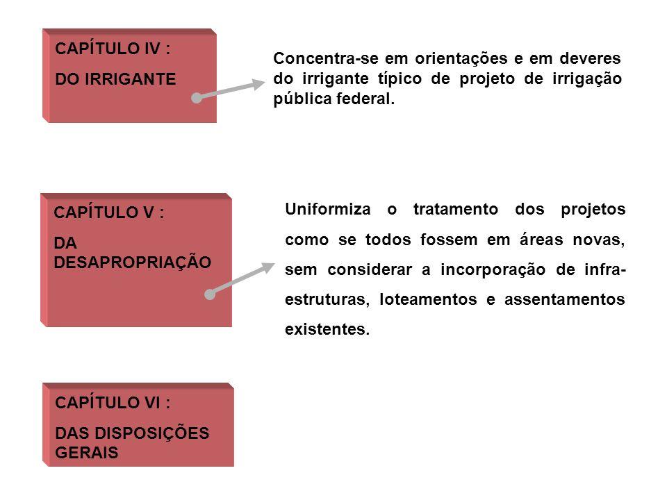 CAPÍTULO IV : DO IRRIGANTE CAPÍTULO V : DA DESAPROPRIAÇÃO Concentra-se em orientações e em deveres do irrigante típico de projeto de irrigação pública