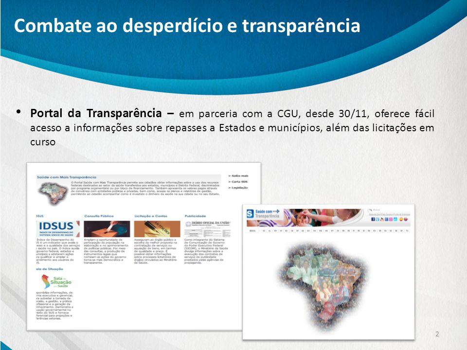 Portal da Transparência – em parceria com a CGU, desde 30/11, oferece fácil acesso a informações sobre repasses a Estados e municípios, além das licit