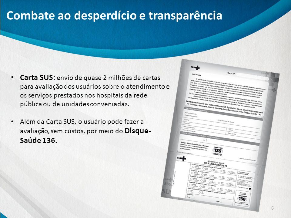 6 Combate ao desperdício e transparência Carta SUS: envio de quase 2 milhões de cartas para avaliação dos usuários sobre o atendimento e os serviços p
