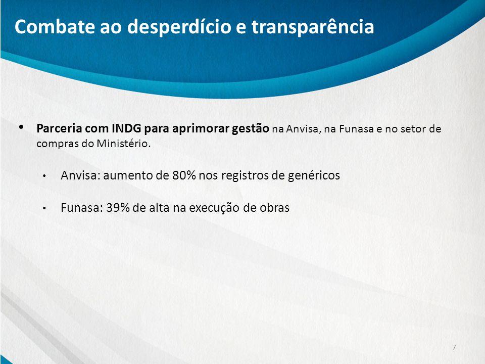 Parceria com INDG para aprimorar gestão na Anvisa, na Funasa e no setor de compras do Ministério. Anvisa: aumento de 80% nos registros de genéricos Fu