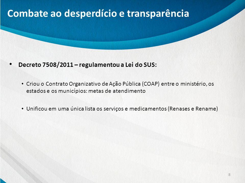 Decreto 7508/2011 – regulamentou a Lei do SUS: Criou o Contrato Organizativo de Ação Pública (COAP) entre o ministério, os estados e os municípios: me