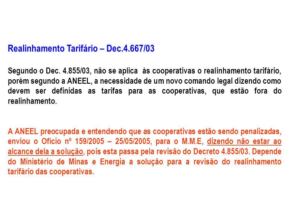 Realinhamento Tarifário – Dec.4.667/03 Segundo o Dec.