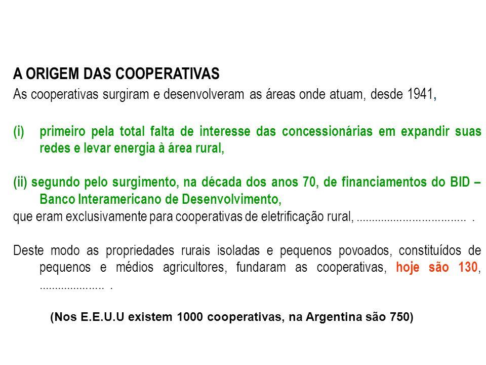 A ORIGEM DAS COOPERATIVAS As cooperativas surgiram e desenvolveram as áreas onde atuam, desde 1941, (i)primeiro pela total falta de interesse das concessionárias em expandir suas redes e levar energia à área rural, (ii) segundo pelo surgimento, na década dos anos 70, de financiamentos do BID – Banco Interamericano de Desenvolvimento, que eram exclusivamente para cooperativas de eletrificação rural,....................................