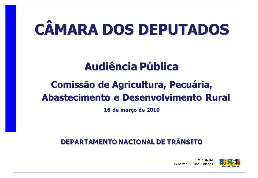 Denatran Ministério Das Cidades CÂMARA DOS DEPUTADOS Audiência Pública Comissão de Agricultura, Pecuária, Abastecimento e Desenvolvimento Rural 16 de