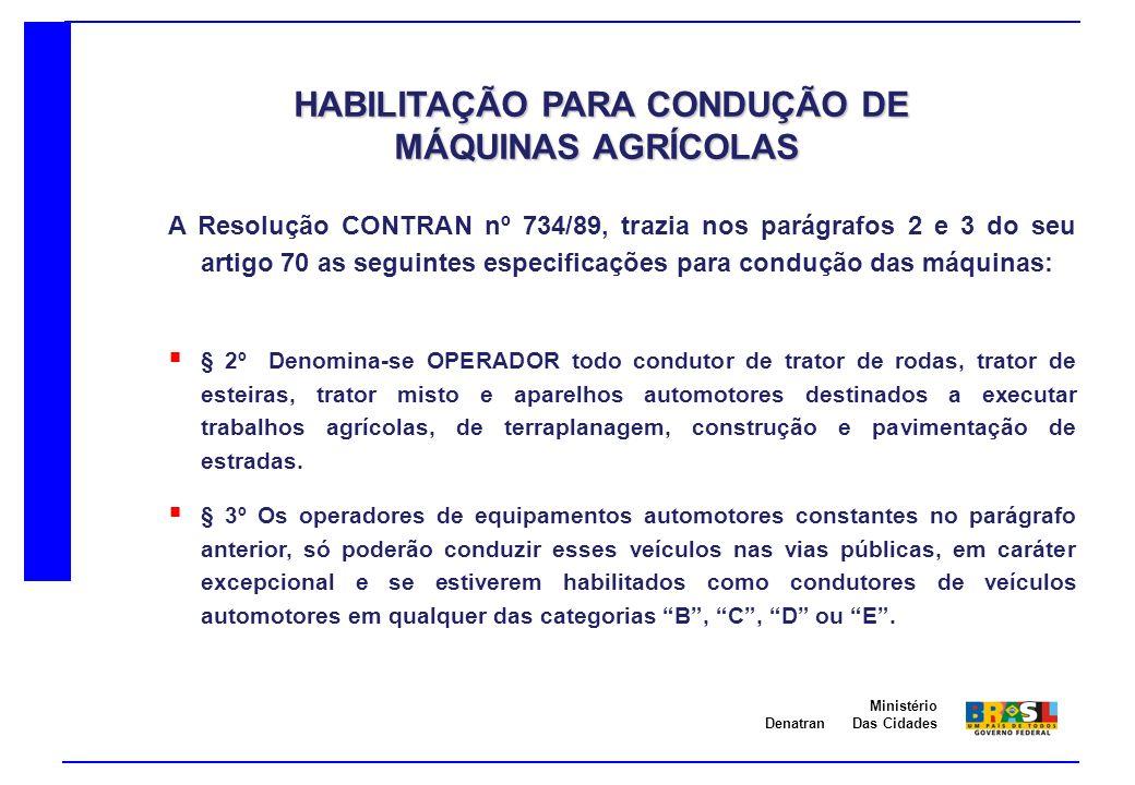 Denatran Ministério Das Cidades A Lei 9503 de 23 de setembro de 1997, que instituiu atual legislação de trânsito Brasileira trás o seguinte texto em relação a habilitação para conduzir estas máquinas: Art.