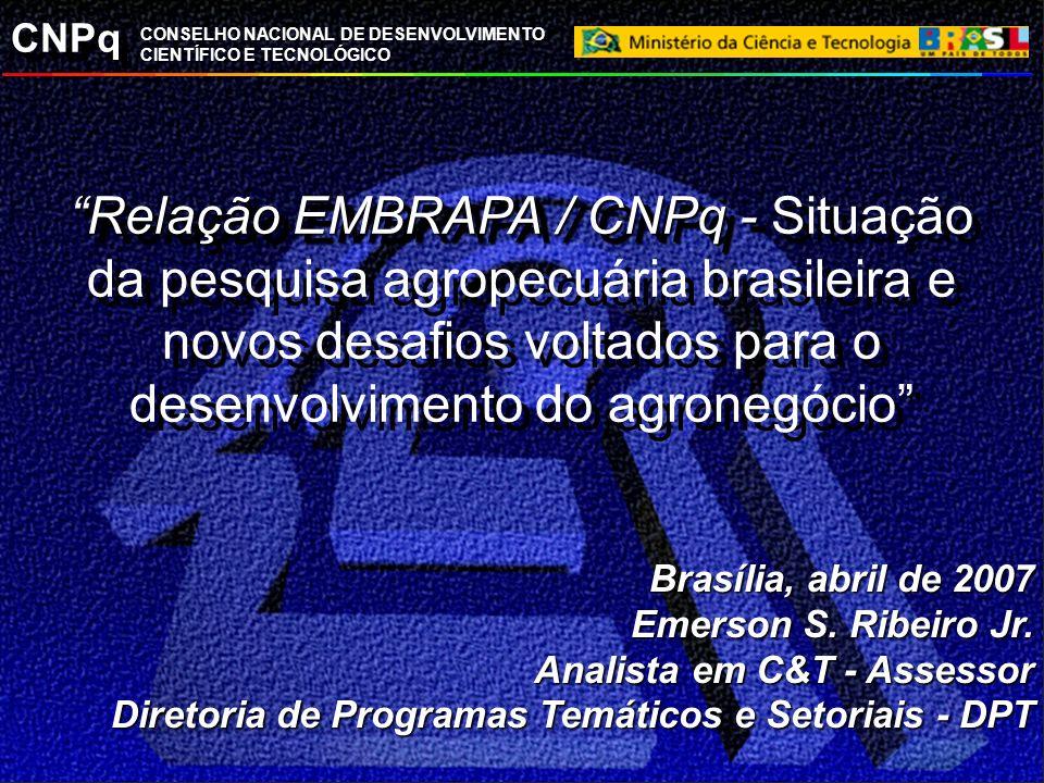 CNPq CONSELHO NACIONAL DE DESENVOLVIMENTO CIENTÍFICO E TECNOLÓGICO Relação EMBRAPA / CNPq - Relação EMBRAPA / CNPq - Situação da pesquisa agropecuária