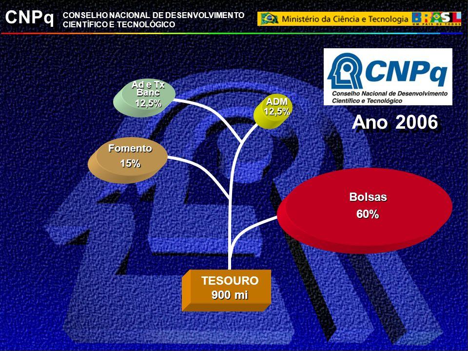 CNPq CONSELHO NACIONAL DE DESENVOLVIMENTO CIENTÍFICO E TECNOLÓGICO Fomento15% ADM12,5% TESOURO 900 mi Bolsas60% Ad e Tx Banc 12,5% Ano 2006
