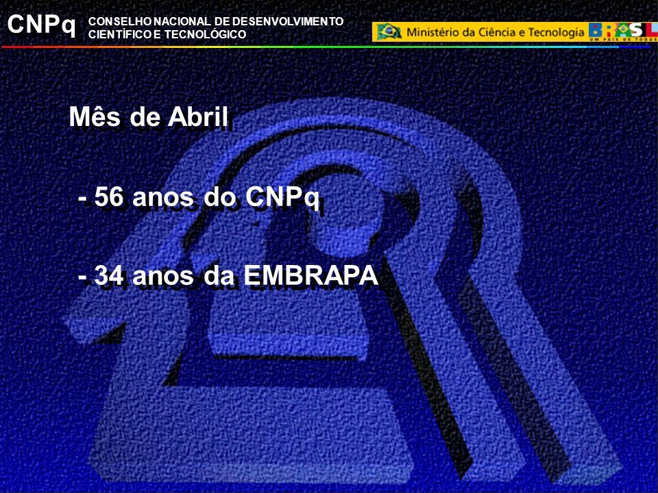 CNPq CONSELHO NACIONAL DE DESENVOLVIMENTO CIENTÍFICO E TECNOLÓGICO Mês de Abril - 56 anos do CNPq - 34 anos da EMBRAPA - 56 anos do CNPq - 34 anos da