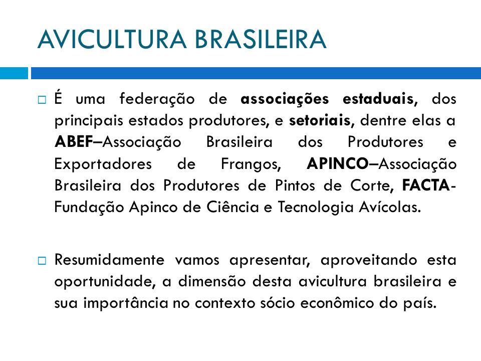 AVICULTURA BRASILEIRA É uma federação de associações estaduais, dos principais estados produtores, e setoriais, dentre elas a ABEF–Associação Brasilei