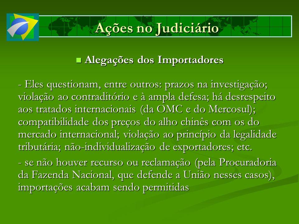 Ações no Judiciário Alegações dos Importadores Alegações dos Importadores - Eles questionam, entre outros: prazos na investigação; violação ao contrad